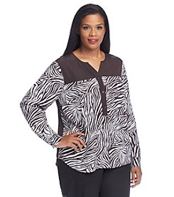 MICHAEL Michael Kors® Plus Size Animal Print Henley Top