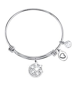 Gratitude and Grace Silvertone Snowflake Adjustable Bangle
