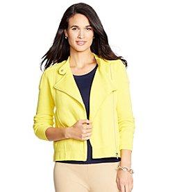 Lauren Ralph Lauren® Petites' Moto Cotton Full-Zip Sweater