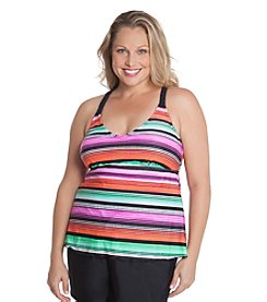 Beach Diva® by Malibu Plus Size Stripe X-Back Tankini Top