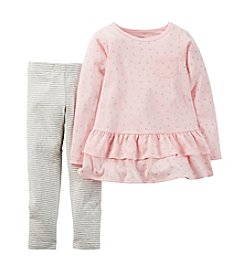 Carter's® Girls' 2T-6X Heart Print Peplum Top and Legging Set