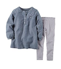 Carter's® Girls' 2T-6X Chambray Top and Printed Leggings Set
