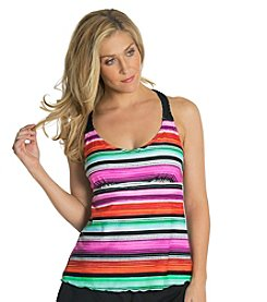 Malibu Stripe X-Back Tankini Top