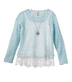 Beautees 7-16 Long Sleeve Shimmer Lace Hang Down Top