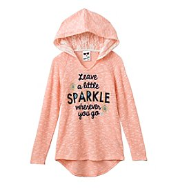 Belle du Jour 7-16 Long Sleeve Sparkle Lace Hoodie Tee