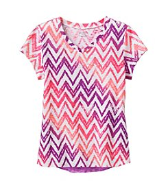 Miss Attitude Girls' 7-16 Zigzag Printed V-Neck Tee