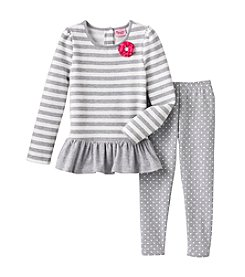Nannette ® Striped Top with Polka Dot Leggings Set