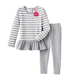 Nannette ® Striped Top with Polka Dot Leggings Set