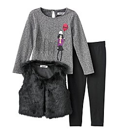 DKNY® Fur Vest Leggings Set