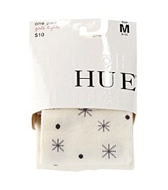 HUE® Girls' Ivory Snowflake Sweater Tights