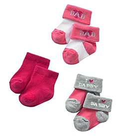 Cuddle Bear® Girls' 3-Pk. I Love Daddy Socks