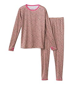 Cuddl Duds® Girls' 2-Piece Cheetah Print Tee And Pants Set