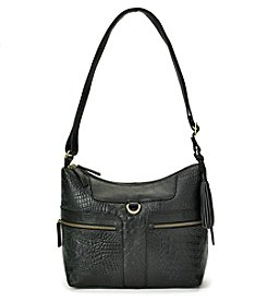 GAL Leather Crocodile Double Zip Crossbody