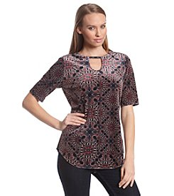 Ruff Hewn GREY Printed Elbow Sleeve Top