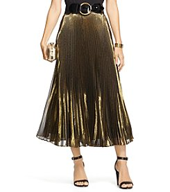 Lauren Ralph Lauren® Silk Lame Pleated Skirt