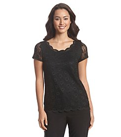 Tahari ASL® Cap Sleeve Lace Top