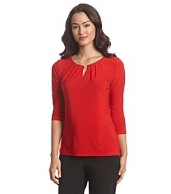 Tahari ASL® Three-Quarter Sleeve Top With Hardware