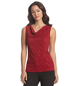 Tahari ASL® Embossed Drapeneck Top