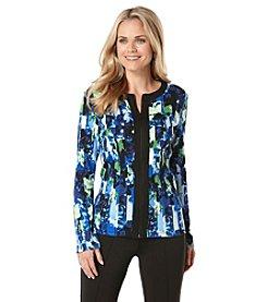 Rafaella® Stripe Floral Print Cardigan