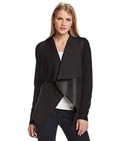 MICHAEL Michael Kors® Faux Leather Drape Front Sweater