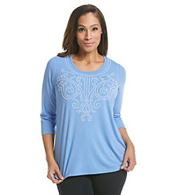Laura Ashley® Plus Size Pearl Scroll Top