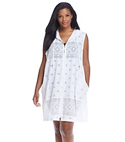 Dotti Plus Size Mesh Sleeveless Hooded Cover-Up