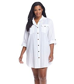 Dotti Plus Size Sanibel Island Shirt Dress Cover-Up