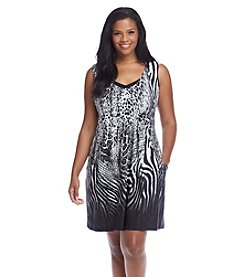 J. Valdi® Plus Size Printed Scoop Neck Dress Cover-Up