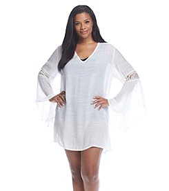 J. Valdi® Plus Size Lace Sleeve Tunic Cover-Up