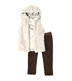 Beautees Girls' 2T-6X Faux Fur Hooded Vest And Printed Leggings Set