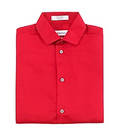 Calvin Klein Boys' 2T-7 Red Long Sleeve Sateen Woven Dress Shirt