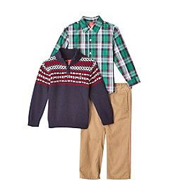 Izod® Boys' 2T-XL Three-Piece Snowflake Sweater Set