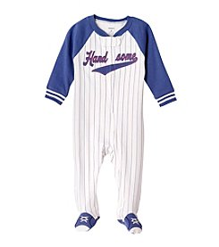 Carter's® Baby Boys White And Blue Stripe Baseball Footie
