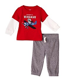 Carter's® Baby Boys 2-Piece Red Shirt And Khaki Pants Set