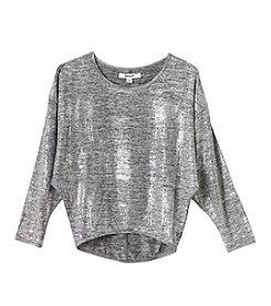 DKNY Girls' 7-16 Metallic Silver Shine Top