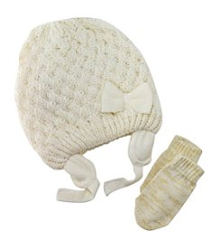Mambo® Girls' Basket Weave Hat And Mittens Set