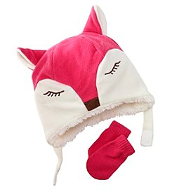 Mambo® Girls' Animal Pattern Hat And Mitten Set