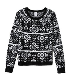 Miss Attitude Girls' 7-16 Eyelash Print Sweater