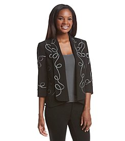 Kasper® Stretch Crepe Embroidered Cardigan Jacket