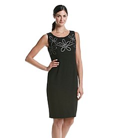 Kasper® Stretch Crepe Embroidered Sheath Dress