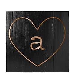 Cathy's Concepts Personalized Black Rustic Heart Wooden Wall Art
