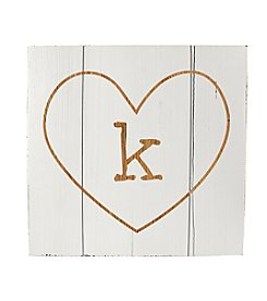 Cathy's Concepts Personalized White Rustic Heart Wooden Wall Art