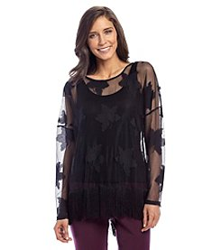 Joan Vass® Lace Top With Fringe Hem