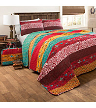 Lush Decor Royal Empire Red and Turquoise 3-pc. Quilt Set