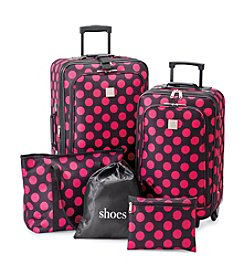 Relativity® Pink Polka Dot Expandable 5-pc. Luggage Set