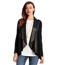 Karen Kane® Cardigan With Faux Leather