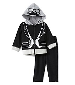 Baby Essentials® Baby Boys 2-Piece Hooded Tuxedo Set
