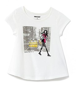 DKNY® Girls' 2T-6X Short Sleeve City Girl Tee