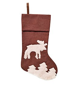 LivingQuarters Brown Moose Stocking