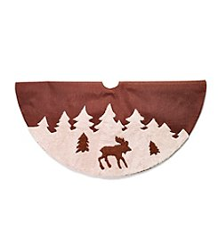 LivingQuarters Brown Moose Tree Skirt